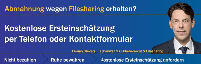 Abmahnung wegen Filesharing erhalten? Nutzen Sie unsere kostenlose Erstberatung!
